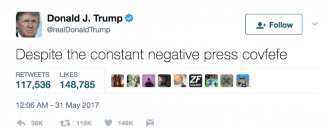 President Trump tweets covfefe