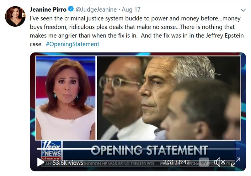Judge Jeanine on Epstein and the criminal justice system